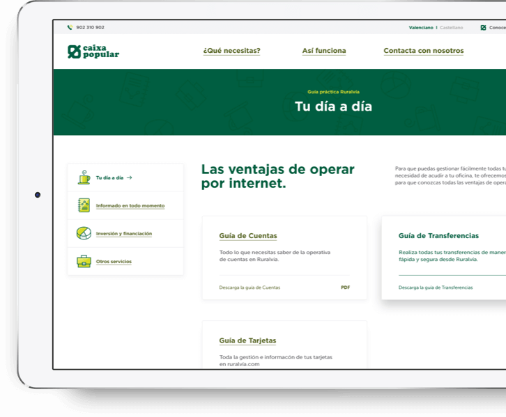 Desarrollo web portal online Caixa Popular